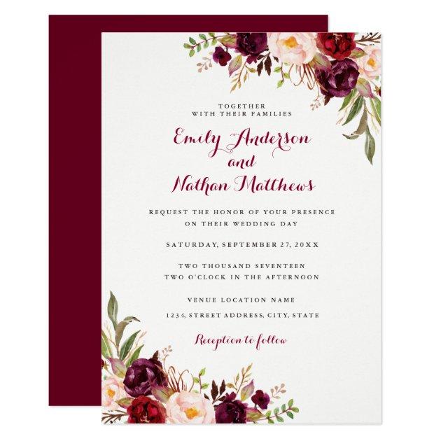 Red Burgundy Floral Fall Wedding Invitation Zazzlecom
