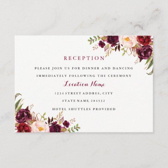 Red Burgundy Floral Fall Wedding Reception Card Zazzle