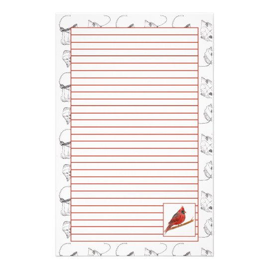 Red Cardinal Bird Lined Stationery Paper Zazzle - lined stationery paper