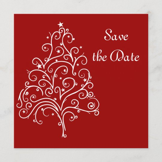 Red Christmas Tree Winter Wedding Save the Date Zazzle