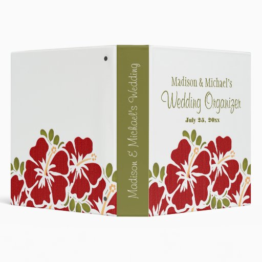 Red hibiscus wedding planner organizer binders