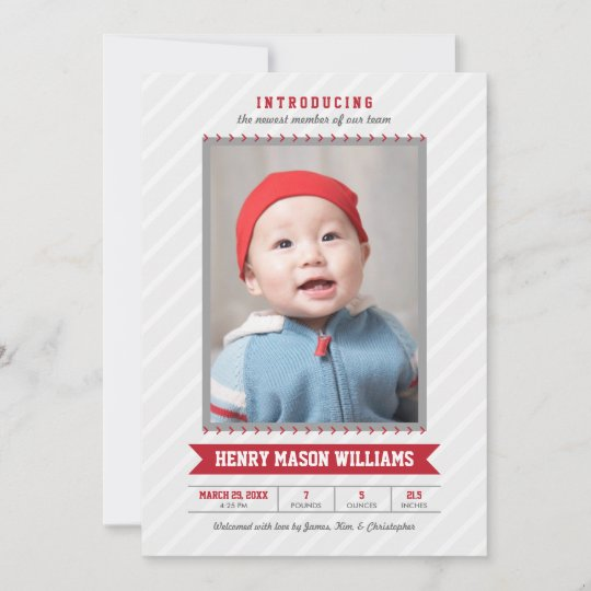 Red Photo Birth Announcement Card Baseball Theme Zazzle
