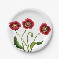 Red Poppy Garden Flowers Paper Plates | Zazzle