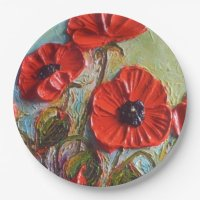 Red Poppy Paper Plates 9 Inch Paper Plate | Zazzle