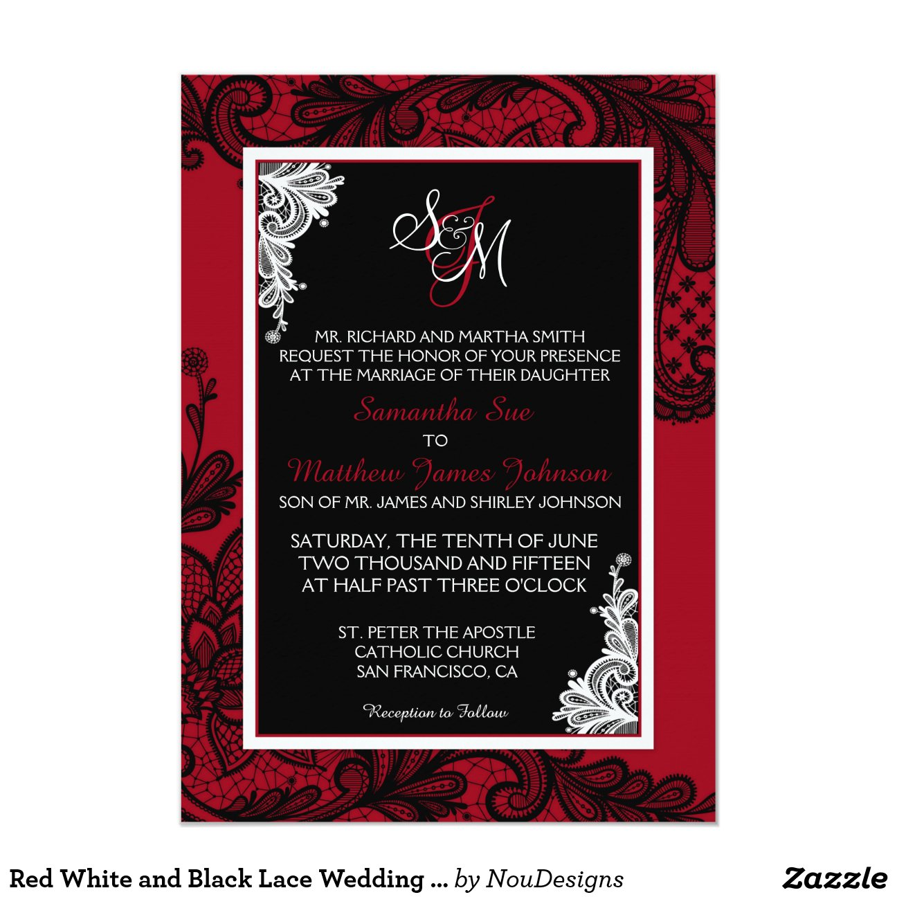 Black White Red Wedding Invitations - Menshealtharts