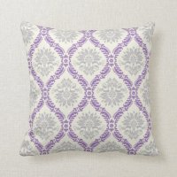 regal purple gray and cream damask design pillows | Zazzle