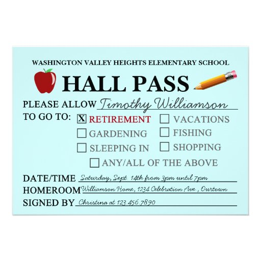 Personalized Hall Pass Invitations CustomInvitations4U