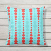 Retro Red and Turquoise Dots Outdoor Pillow | Zazzle