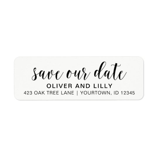 Return Address Labels - Save the Date Script Font Zazzle - Address Label