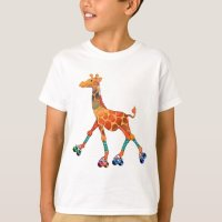 Roller Skating Giraffe T-Shirt   Zazzle