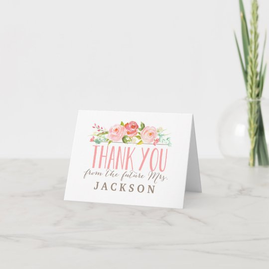 Rose Garden Bridal Shower Thank You Card Zazzle