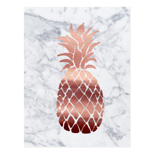 Iphone 6 Wallpaper Life Quotes Rose Gold Pineapple On Marble Postcard Zazzle Com