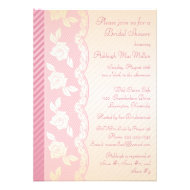 Rose Pink, Ivory Floral Lace Bridal Shower Invite