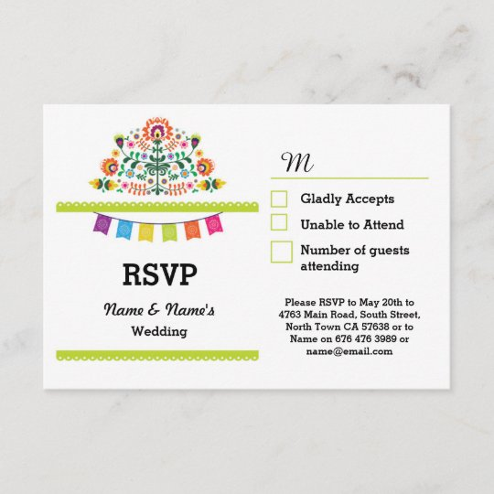 RSVP Fiesta Mexican Print Cards Wedding Party Zazzle
