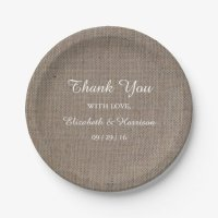 Rustic Burlap Wedding Reception Thank You Paper Plate | Zazzle