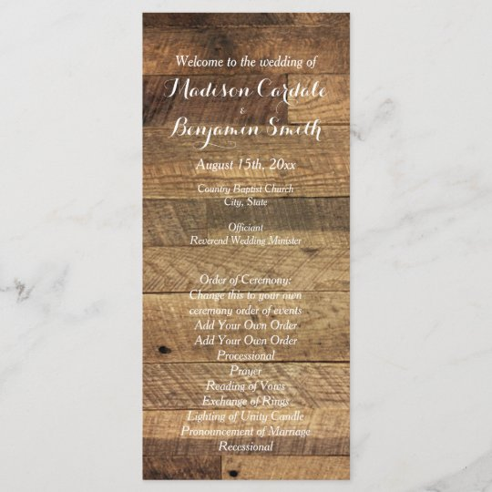 Rustic Country Barn Wood Wedding Program Template Zazzle