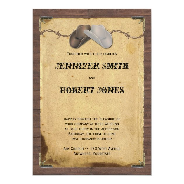 Rustic Country Cowboy Hats Barbed Wire Wedding Invitation