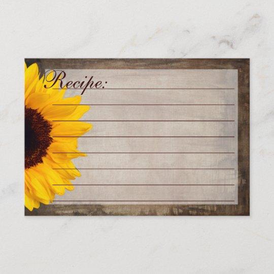 Rustic Country Sunflower Recipe Cards Zazzle