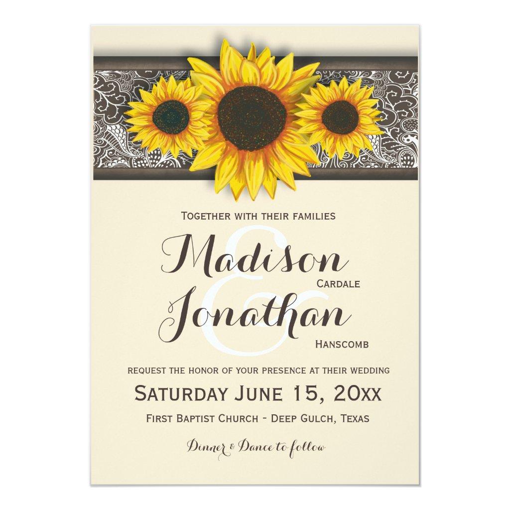Sunflower Wedding Invitations Rustic Country Wedding