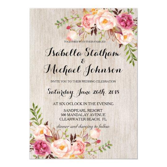 Rustic Floral Wedding Invitation/Watercolor bg-2 ...