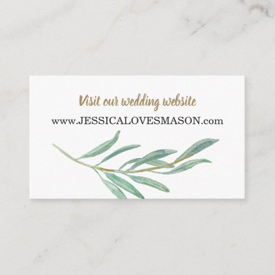 Rustic Greenery Wedding Website Insert Card Zazzle