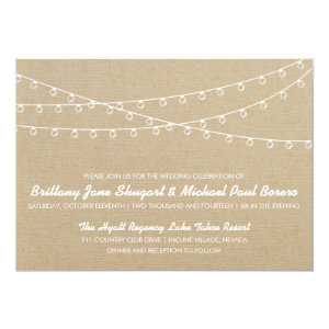 Rustic Lights White Wedding Invitation