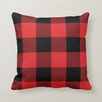 Rustic Red and Black Buffalo Check Plaid Throw Pillow | Zazzle