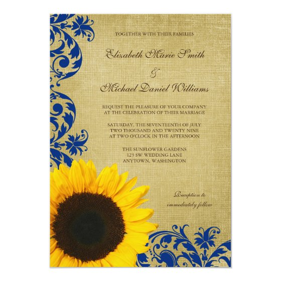Rustic Sunflower Blue Swirls Wedding Card