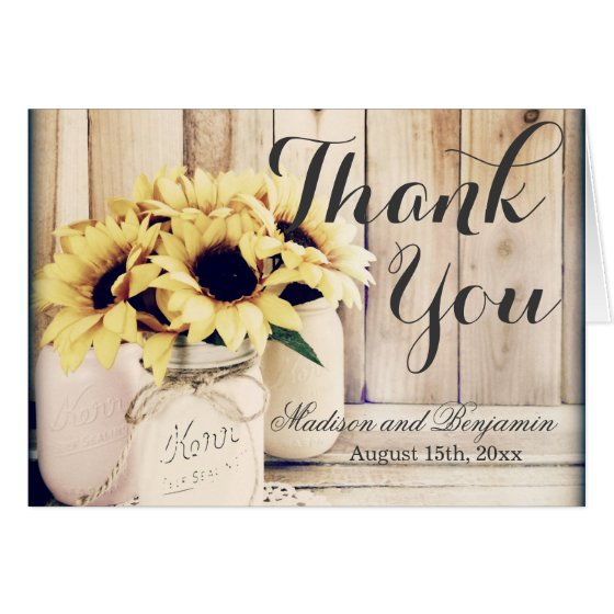 Rustic Sunflowers Mason Jar Wedding Thank You Card
