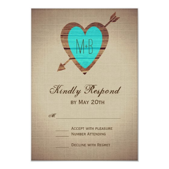 Rustic Teal Heart Arrow Wedding RSVP Cards