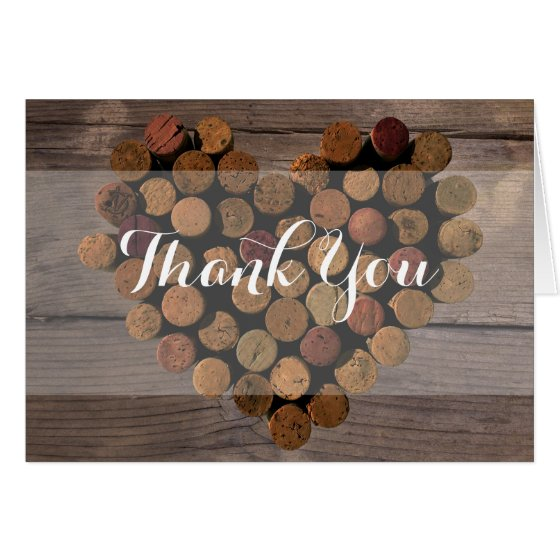Rustic Wine Cork Thank You Notes
