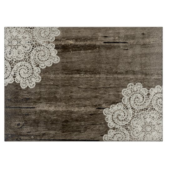 Black Wood Grain Wallpaper Rustic Wood Look And Lace Glass Cutting Board Zazzle Com