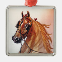 Saddlebred Horse Fine Harness Square Metal Christmas Ornament
