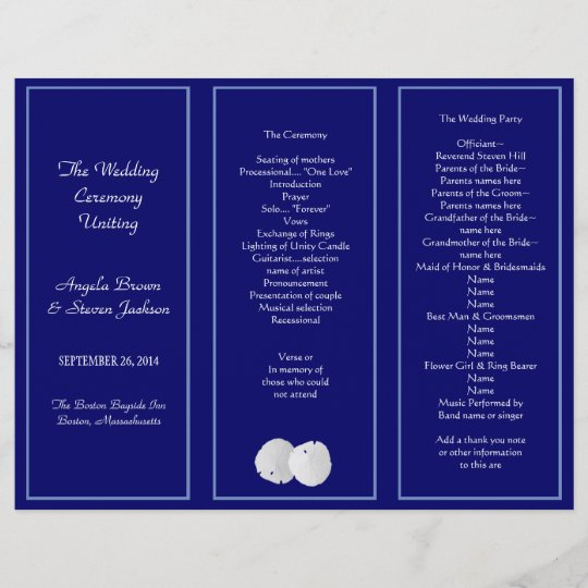 Sand Dollar Navy Tri-Fold Wedding Program Template Zazzle