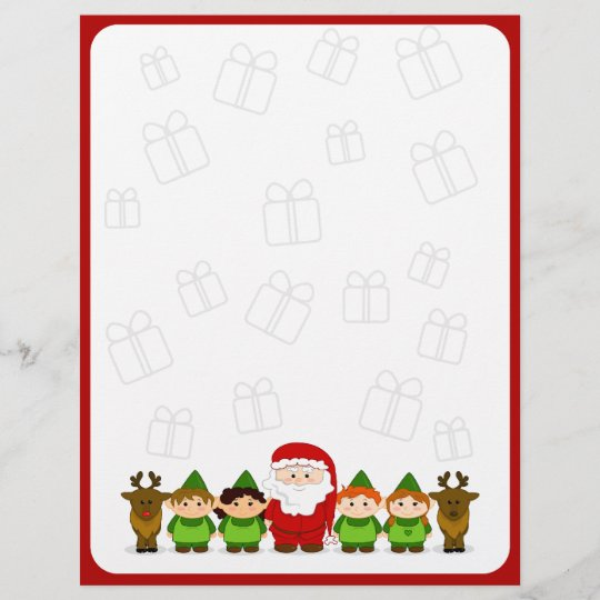 Santa, Elves and Reindeer Christmas Letter Paper Zazzle