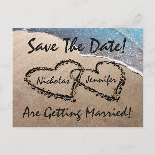 Save The Date Hearts Sand Beach Wedding Postcard Zazzle