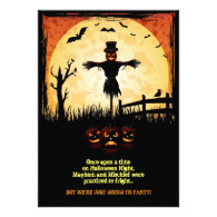 Scarecrow Moonlight Halloween Party Card