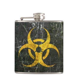 Scratched and Worn Yellow Biohazard Symbol Flasks
