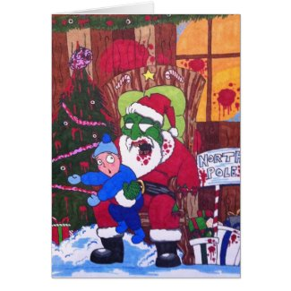 Season's Eatings Zombie Santa Card