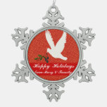 Secular White Christmas Dove Holly N Polka Dots