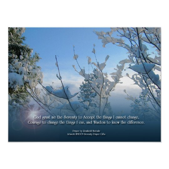 Serenity Prayer Snow Scene Poster Zazzle