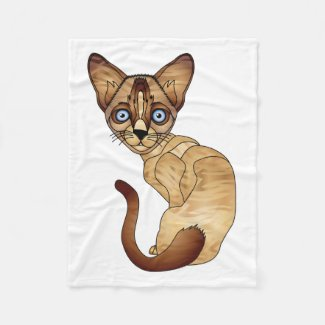 Siamese Cat Fleece Blanket
