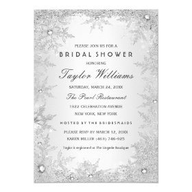 Silver Jewel Snowflake Bridal Shower 5x7 Paper Invitation Card