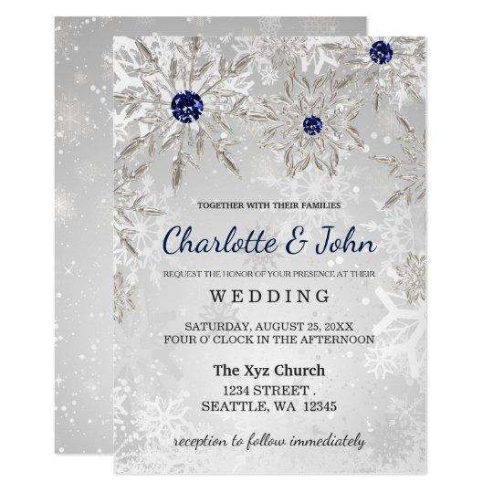 Silver Navy Snowflakes Winter Wedding Invitation Zazzlecom