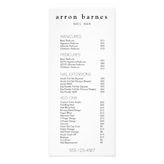 Simple Black White Salon Price List Service Menu Zazzle