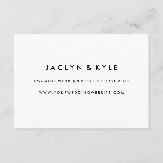 Simple Black  White Wedding Website Insert Card Zazzle