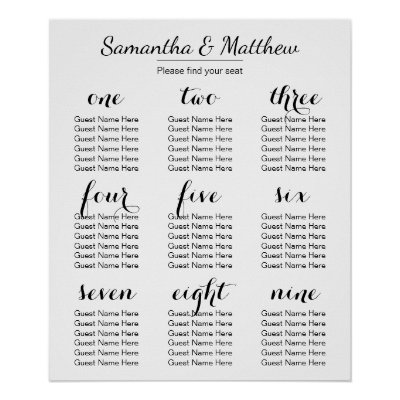 wedding seating chart poster - zrom