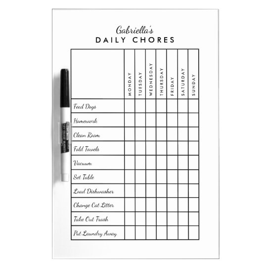 Simple Daily Chore Chart Dry-Erase Board Zazzle - daily chore