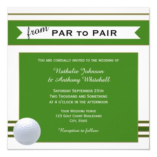 Simple Elegant Golf Theme Wedding Invitation Zazzlecom