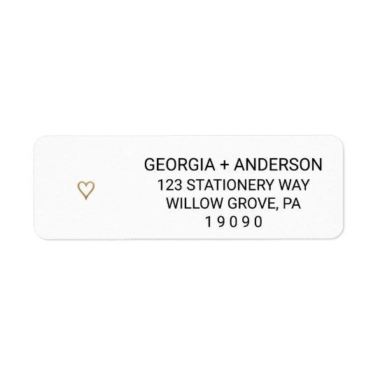 Simple Gold Heart Wedding Return Address Labels Zazzle